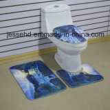 Siège de couverture de toilette et baignoire Ensemble de tapis de bain antidérapant imprimé 3D 3 pièces