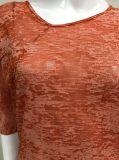 METÀ DI maglietta del manicotto di nuovo disegno per le donne con il Burn-out