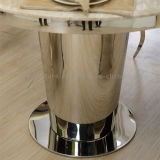 Round Marble Top Dining Table with Triangular Prism Stainless Steel Frame