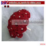 Casamento Rose Crystal Artificial Bridal Bouquet Decoração De Casamento De Damassé (W1059)