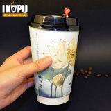 Xícara de café de papel quente descartável com tampas para bebidas quentes