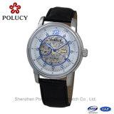 Reloj de cuero de Brown de la fecha mecánica automática esquelética del Mens de la manera