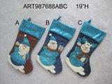 산타클로스 눈사람과 큰사슴 크리스마스 스타킹, 3 Asst