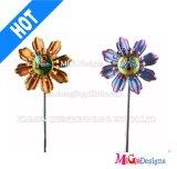 OEM Outdoor Decorative Flower Metal Windmill Garden Stake