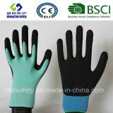 Doublure en nylon de 13 mesures, enduit de nitriles, gants de travail de sûreté de fini de Sandy (SL-NS102)