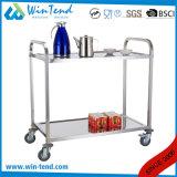 File di piccola dimensione dell'acciaio inossidabile le 2 quadrano il carrello portavivande di lucidatura dell'alimento o del tè dello specchio del tubo con 4 rotelle