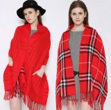 Broad Winter Thicker Plaid Double-Side Scarf Checked Shawls with Pocket