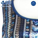 青い反射円形カラー袖なしの緩くセクシーな方法女性ブラウス