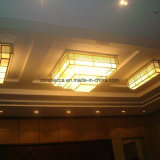 Hotel decorativo Multilayer Square Yellow Resin Ceiling Lighting
