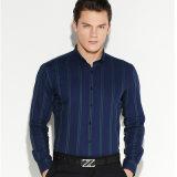 人の綿の形式的で長い袖のピン・カラーのストライプのシャツ