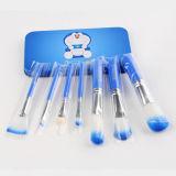 Conjunto de cepillo lindo al por mayor del maquillaje de 7PCS Doraemon con el rectángulo azul del metal