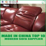 Bâti de sofa en bois de cuir véritable de salle de séjour de meubles