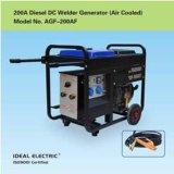 Conjunto de soldador de gerador a diesel de 200 A refrigerado a ar
