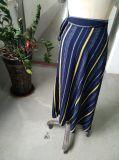 Sprung-Streifen-Kontrast-Farbebowknot-elegante Damen umsäumen lang