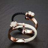 De vrouwen vormen de Wevende Armband van het Leer van de Charme van de Bloem van het Roestvrij staal van Juwelen