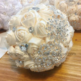 Cream Satin Wedding Flowers Decoration Rhinestone Bridal Bouquets