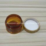 Kosmetik-verpackendes bernsteinfarbiges Plastikhaustier-Glas mit Bambuskappe (PPC-BS-053)