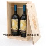 Unfertiger Kiefer-Doppelt-Flaschen-Wein-Kasten für Bildschirmanzeige
