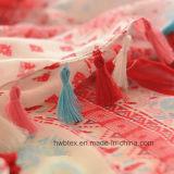 Preiswerte Diamant-Drucken-Polyester-Dame Scarf mit farbigen Troddeln (HWBP105)