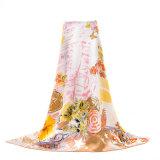 A alta qualidade imprimiu o lenço de seda com borda rolada mão do ponto