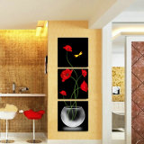 La pittura di parete moderna di vendita calda delle 3 parti fiorisce la maschera di arte della parete della decorazione della stanza della pittura verniciata sulla decorazione Mc-215 della casa della tela di canapa