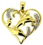 pendente dell'oro giallo 10K con il diamante