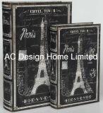 Contenitore di libro di legno elegante di memoria di stampa di disegno Canvas/MDF della Torre Eiffel S/2