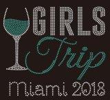 2018 Miami Girl Parte Rhinestone Vinho Design de transferência para T-shirt