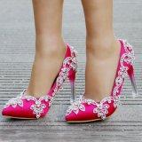 Женщин Атласная ткань верхней высокие каблуки Crystal ремешок свадебное устраивающих обувь