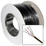 Categoría 5e UTP cable al aire libre con la vaina del PE y el cable del mensajero