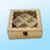Дружественность к окружающей среде настроенных отсеках соснового дерева прозрачное окно деревянные ящики чая