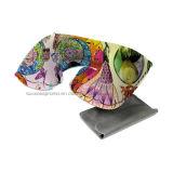 Promocional flocado PVC inflable Almohada para cuello con el logotipo personalizado