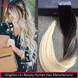 Ruban d'arrivée de 2017 dans les cheveux humains Extension de cheveux humains Remy droit