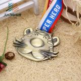 Направьте медаль шаржа спорта 3D металла надувательства античное бронзовое изготовленный на заказ