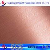 Placa de aço inoxidável de superfície de Hariline de 304 cores com PVC no aço inoxidável