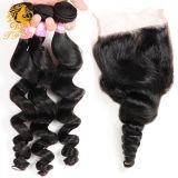 Pelo brasileño de la Virgen con cierre de haces de pelo con el encierro brasileño del cordón de la onda floja trama del pelo con el encierro