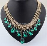 La joyería de moda de primavera de 2013 Transprant/ Verde Cristal Collar con cadena de aleación de zinc con chapado en oro y plomo Ecológico libre de níquel