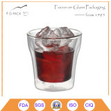 Taza de cristal de la pared doble hecha a mano para beber