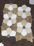 Azulejo de mosaico de mármol mezclado del corte del jet de agua del diseño de la flor