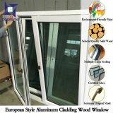 Ventana de giro de inclinación de aluminio de madera de roble para Villa Europa, Ventana de inclinación de aluminio de acabado popular con doble cristal