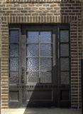 Квадратная верхняя самомоднейшая изготовленный на заказ одиночная дверь входа утюга с Sidelights