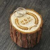 De douane Gegraveerde Doos van de Gift van het Embleem Natuurlijke Houten voor Ring
