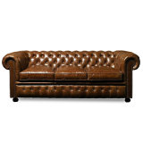 Klassisches Art-Möbel-Leder-Sofa