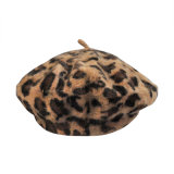 Der Frauen wärmen Angora-Winter-Herbst-Sprung-Leopard-Wolle-Schutzkappen-Hut-Barett (HW801)