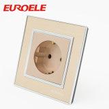 Interruptor da parede do grupo do acrílico 2 do ouro do ponto 86*86mm do toque da tira