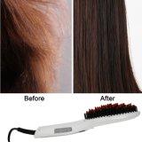 Estrella de la belleza del OEM con el cepillo de la enderezadora del pelo de la visualización del LCD