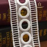 Tela do nylon do laço do bordado do branco de vestido do casamento