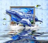 製造所のカスタム製品3Dの漫画の魚および児童室の壁紙の壁画を飾る煉瓦写真