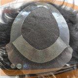 Toupee posteriore bianco del Mens di stile della parte anteriore del merletto dell'unità di elaborazione dei capelli umani di colore