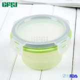 Runder kleiner Silikon-Nahrungsmittelvorratsbehälter mit pp.-Kappe